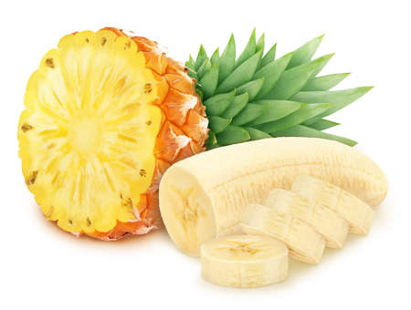 Composite image with cutted fruits: banana and pineapple isolated on white background. As package design element. Stock Photo