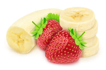 Composition with halved banana and strawberry isolated on white background. As package design element.