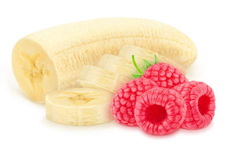 Composition with halved banana and raspberry isolated on white background. As package design element. Healthy eating concept. Stock Photo