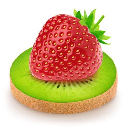 Creative composition with a strawberry lying on a slice of kiwi isolated on a white background. Healthy eating concept.