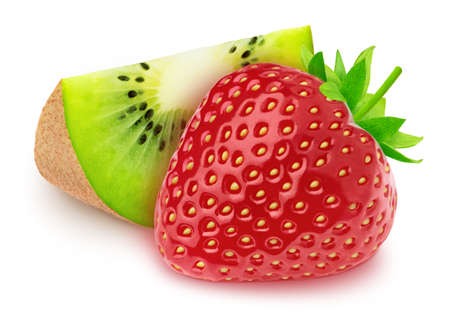 Composition with slice of kiwi and strawberry isolated on white background. As package design element. Stock Photo