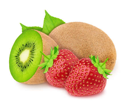 Composition with whole and halved kiwi and strawberry isolated on white background. As package design element. Healthy eating concept.
