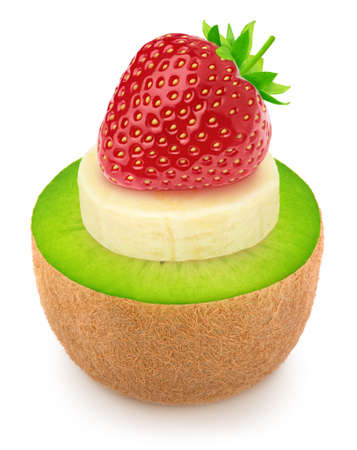 Creative composition with heap of fruit slices of pineapple, kiwi and banana with a strawberry on a top isolated on a white background. Raw eating concept.