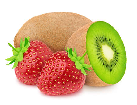 Composition with whole and halved kiwi and strawberry isolated on white background. As package design element.