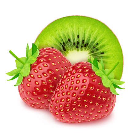 Composition with halved kiwi and strawberry isolated on white background. As package design element.