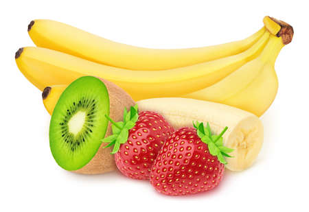 Composition with whole and cutted fruits and berries: banana, kiwi and strawberry isolated on white background. As package design element.