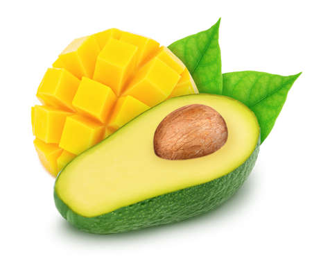 Composite image with halved avocado and curved slice of mango isolated on a white background. Stock Photo