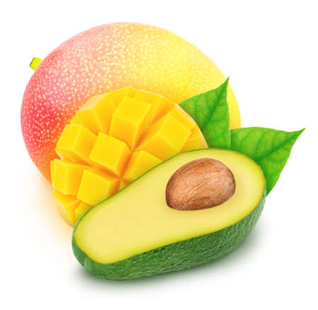 Composite image with halved avocado and mango isolated on a white background.