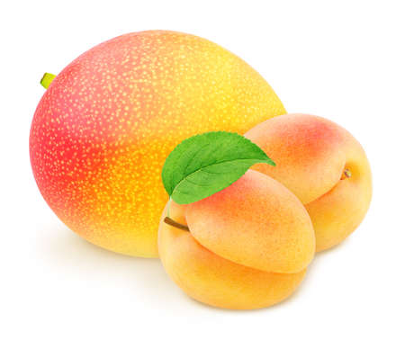Colourful composition with fruit mix - apricot and mango isolated on a white background Stock Photo