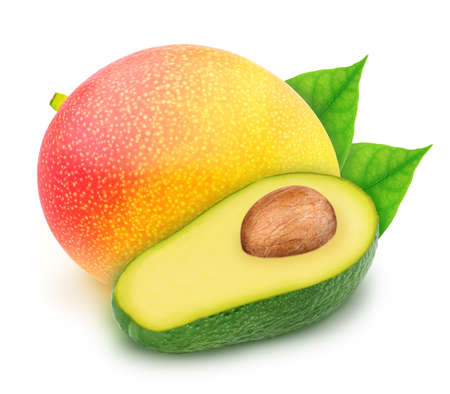Composite image with mango and halved avocado isolated on a white background.
