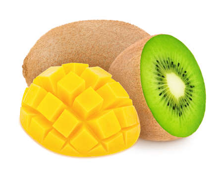 Composite image with kiwi and curved slice of mango isolated on a white background.