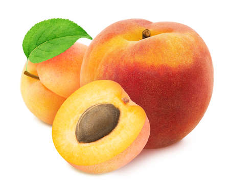 Colourful composition with fruit mix - peach and apricot isolated on a white background