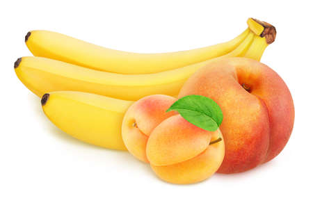 Colourful composition with fruit mix - peach, banana bunch and apricots isolated on a white background