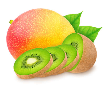Composite image with mango and sliced kiwi isolated on a white background.