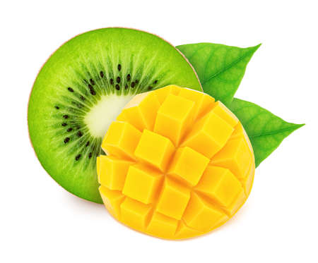Composite image with slices of fruits: mango and kiwi isolated on a white background. Healthy eating concept.