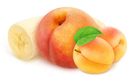 Composite image with whole and cutted fruits: banana, peach and apricot isolated on a white background.