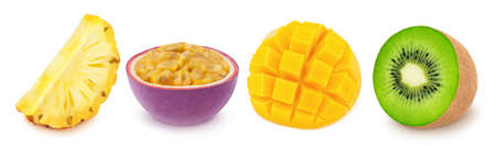 Multi-colored exotic set of passion fruit, pineapple, kiwi and mango, isolated on a white background Stock Photo