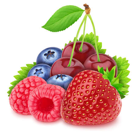 Multicolored composition with assortment of berries isolated on a white background Stock Photo