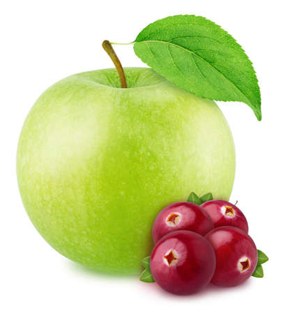 Colourful composition with apple and cranberry
