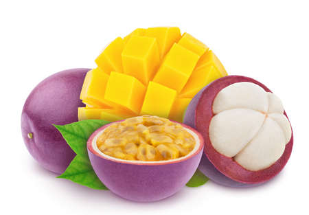 Multi-colored exotic composition with fruit mix of passion fruit, mangosteen and mango