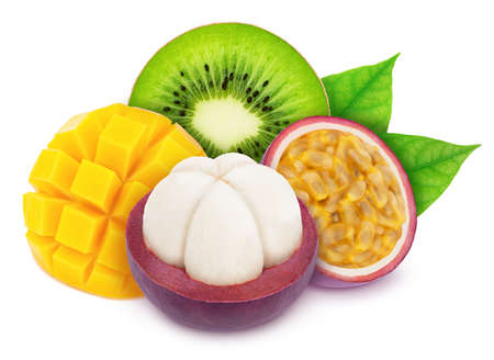 Multi-colored exotic composition with exotic fruit mix isolated on a white background