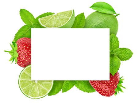 Square frame made of lime and strawberry Stock Photo
