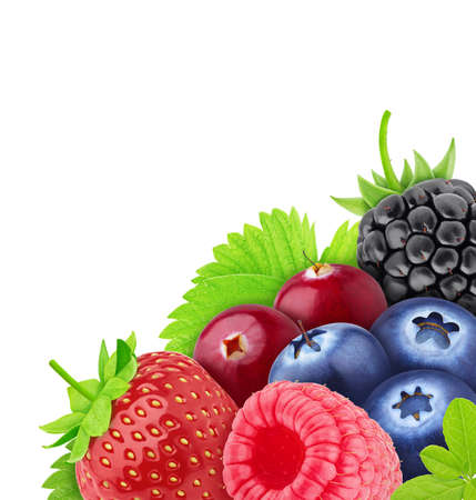 Composition with mix of sweet berries isolated on a white background