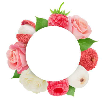 Tender pink round frame made of fruits and roses