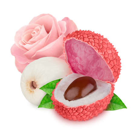 Tender pink composition with lychee and rose flower isolated on a white background 스톡 콘텐츠