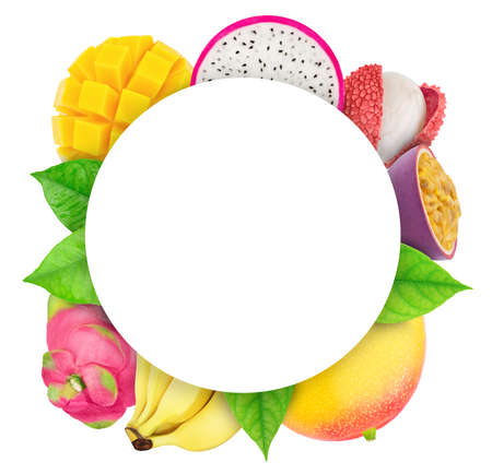 Round frame made of exotic fruits Stock Photo