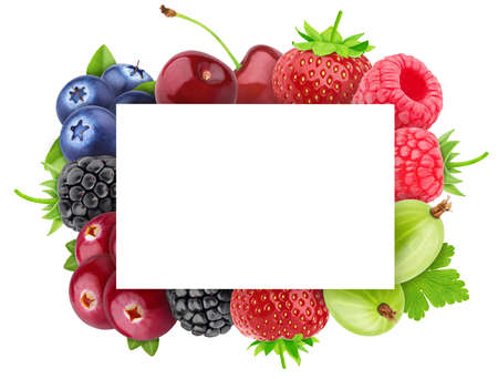 Square frame made of different berries