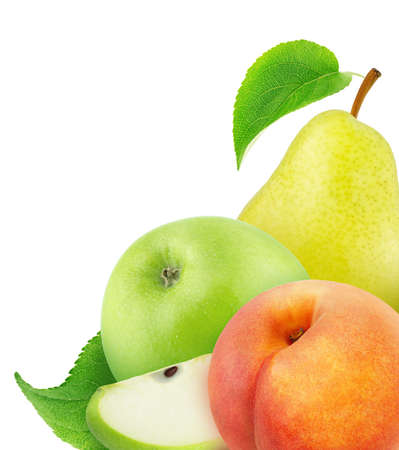 Multi-colored composition with pear and apples isolated on a white background