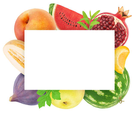 Square frame made of different fruits Stock Photo