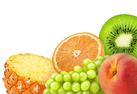Composition with mix of sweet fruits isolated on a white background Stock Photo