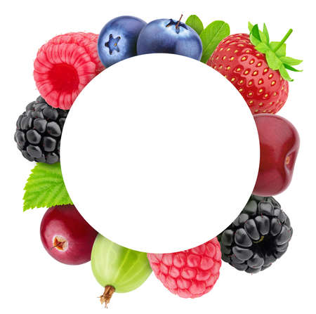 Round frame made of different berries with copyspase inside isolated on a white. Clip art image for package design.