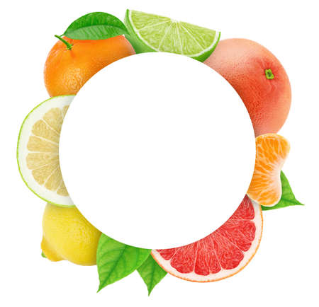 Round frame made of different fruits with copyspase inside isolated on a white. Clip art image for package design.