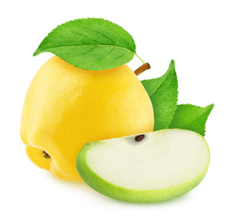 Composite image with apple and quince isolated on a white background.