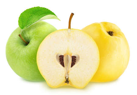 Composite image with apple and quinces isolated on a white background.