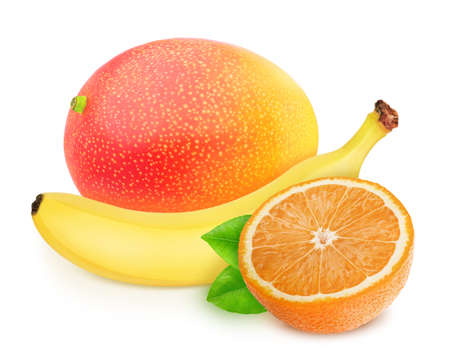 Composition with mix of fully ripened tropical fruits isolated on a white background