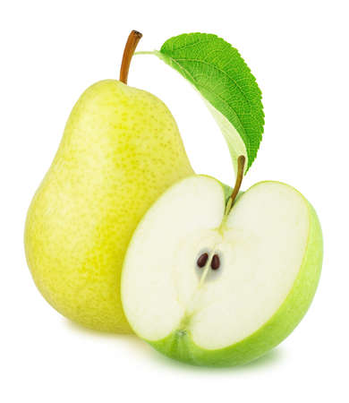Composite image with apple and pear isolated on a white background.