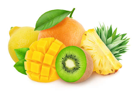 Composition with mix of cutted tropical fruits