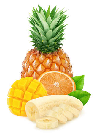 Composition with mix of tropical fruits isolated on a white background