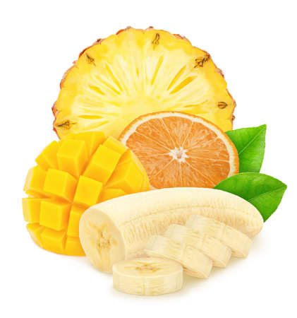 Composition with mix of cutted tropical fruits isolated on a white background
