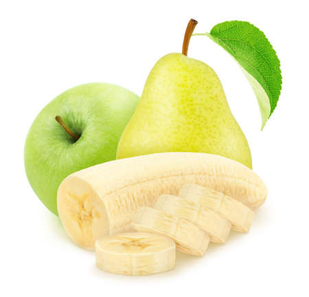 Composite image with apple, cutted banana and pear isolated on a white background. Stock Photo