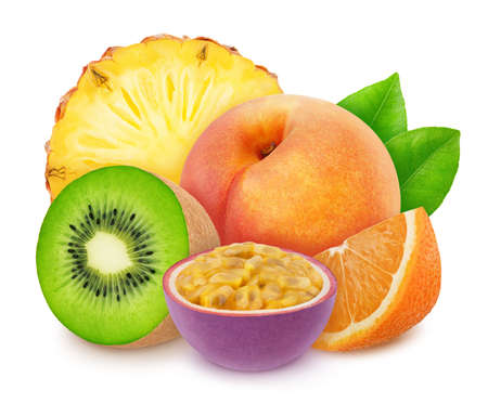 Composition with mix of whole and cutted tropical fruits isolated on a white background