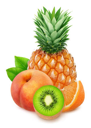 Colourful composition with sweet fruit mix - pineapple, kiwi, orange and peach