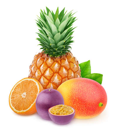 Composition with mix of whole and halved tropical fruits isolated on a white background Stock Photo