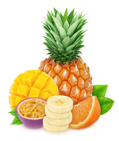 Composition with mix of tropical fruits