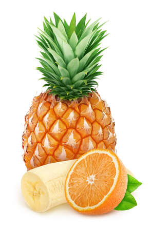 Multi-colored composition with cutted exotic fruits isolated on a white background Stock Photo