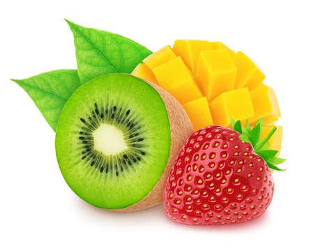 Composite image with kiwi, mango and strawberry isolated on a white background.